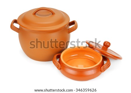 clay pots isolated on white background - stock photo