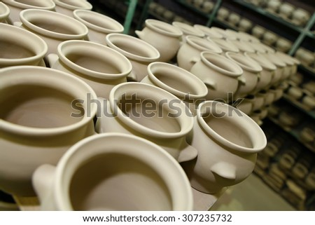 Clay pots on ceramic factory in Borisovka, Belgorod area, Russia
