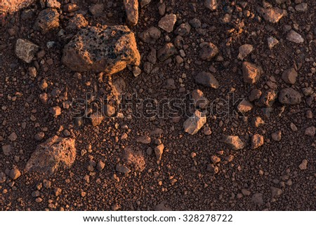 Clay soil texture after water evaporation - stock photo