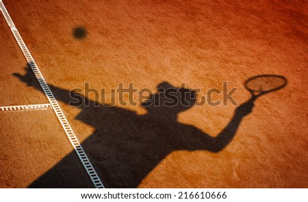 Clay tennis court and player concept - stock photo