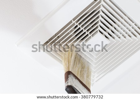 Clean Air Duct, Danger and the cause of pneumonia in office man. - stock photo
