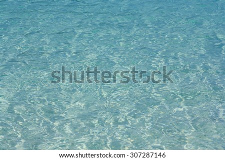 Clean and bright water surface in the sea
