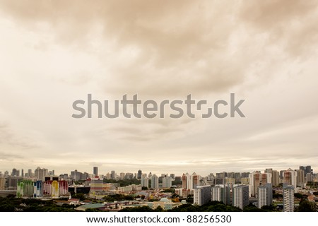 Clean and colorful City outskirt in golden sunset view- Singapore - stock photo