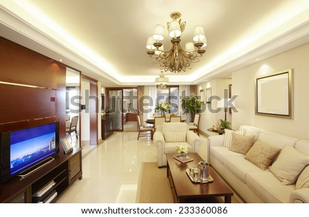 Clean and elegant home interior.Parlor - stock photo
