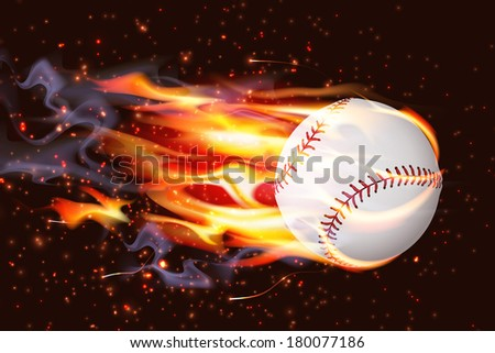 Clean baseball speeding through the air on fire - stock photo