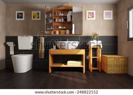 Clean bathroom with sink and toilet and black tiles (3D Rendering) - stock photo
