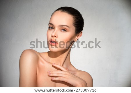 Clean, beautiful face girl - stock photo