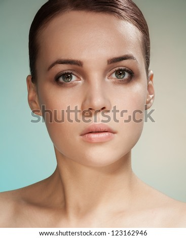 Clean beauty brunet portrait of brunette attractive woman - stock photo