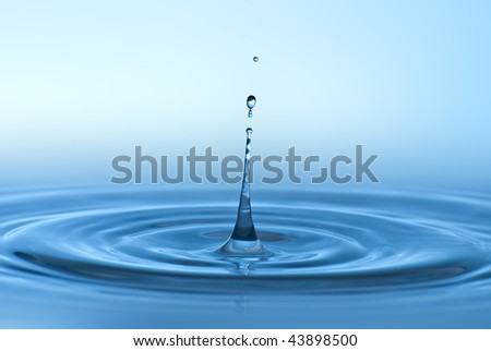 Clean blue drop of water splashing in clear water. Abstract blue environmental background.