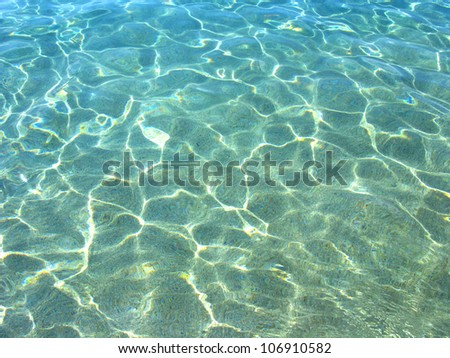 Clean blue water texture, with ripples and sun reflections, at summer in Costa Brava (Spain) - stock photo