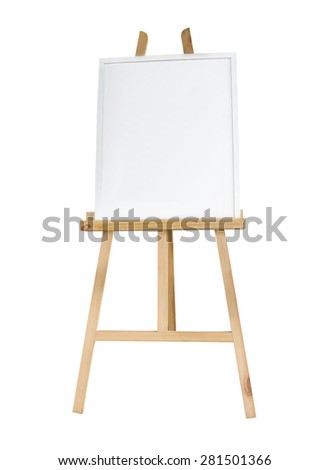 Clean canvas or board on a easel isolated - stock photo