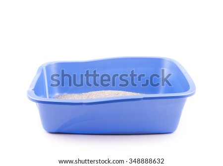 Clean cat litter box waiting for a cat, on white - stock photo