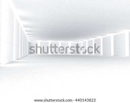 Clean concrete light room modern architecture 3D rendering
