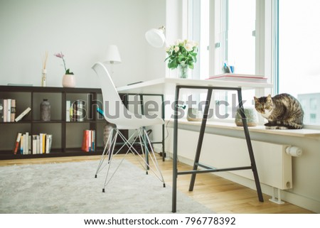 home office work room furniture scandinavian. Clean Contemporary Monochromatic Minimalist Interior Design.Home Office Room In Scandinavian Style.Creative Inspirational Home Work Furniture I
