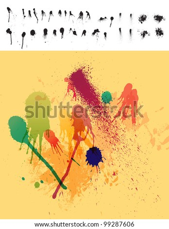Clean Detailed Set of 30 Paint Drips & Spatter - stock photo