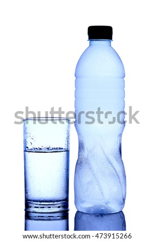 Clean Drinking Water. white background A cold bottle of water