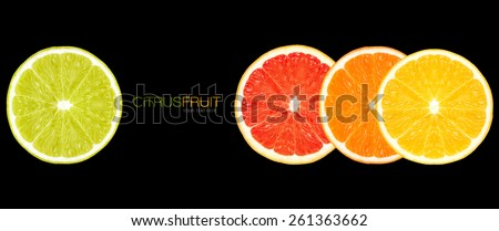 Clean Eating. Closeup of lemon, orange, grapefruit and lime slices. Healthy fresh citrus fruits isolated on black background. Healthy diet concept. Template design with sample text. - stock photo