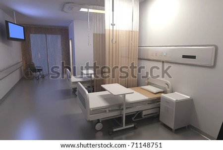 Clean empty beds in a hospital ward