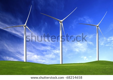 Clean energy being generated by a windmills park - stock photo