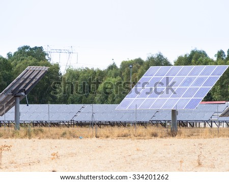 Clean Energy. Photovoltaic system that follow the sun - stock photo