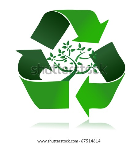 Clean environment - conceptual recycling symbol and green tree. vector file also available / Recycle Symbol - stock photo