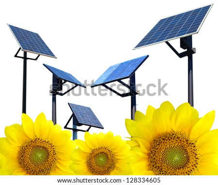 Clean environment solar panel poles, with sunflowers concept