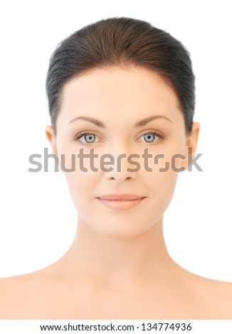 clean face of beautiful young brunette woman - stock photo