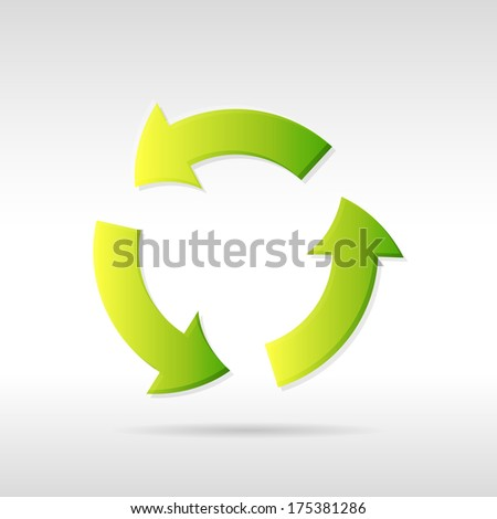 Clean green ecology recycling arrows icon