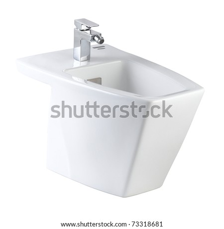 Clean hygienic and useful toilet bowl isolated on white - stock photo