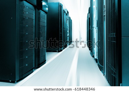 Clean industrial interior of server room with servers