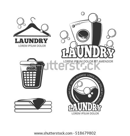 Clean Laundry Washing Vintage Labels Emblems Logos Badges Set Wash Machine And