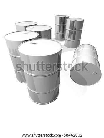 Clean metal drums isolated on white - stock photo