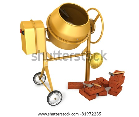 Clean new yellow concrete mixer with helmet, trowel and few bricks, isolated on white background - stock photo