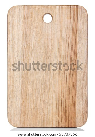clean oak cutting board isolated on white - stock photo