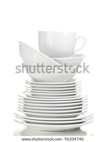 Clean plates and cups isolated on white - stock photo