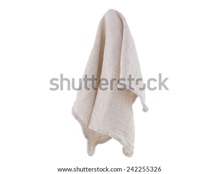 Clean rag suspended isolated on white background - stock photo
