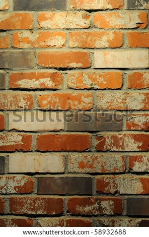 Clean red and tan brick wall background texture. - stock photo