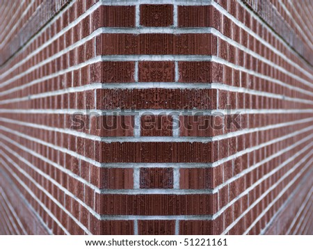 Clean red and tan brick wall background texture with copyspace. - stock photo