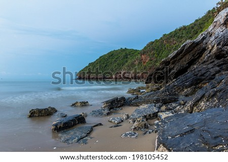 Clean rock beach on morning in Thailand Asia