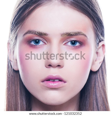 clean skin fashion women  beauty portrait touch face and lips - stock photo