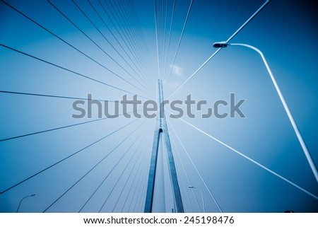 clean sky with modern bridge of china.