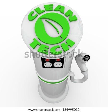 Clean Tech EV Car Charging Power Energy Station - stock photo