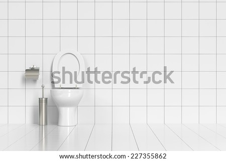 Clean tidy WC with toilette and white tiles (3D Rendering) - stock photo