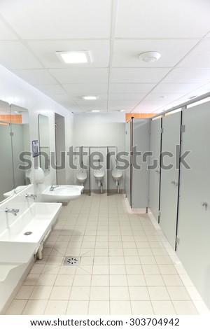 Clean washroom and toilets in a school - stock photo