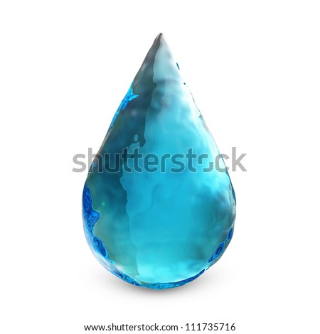 Clean Water Drop isolated on white background - stock photo