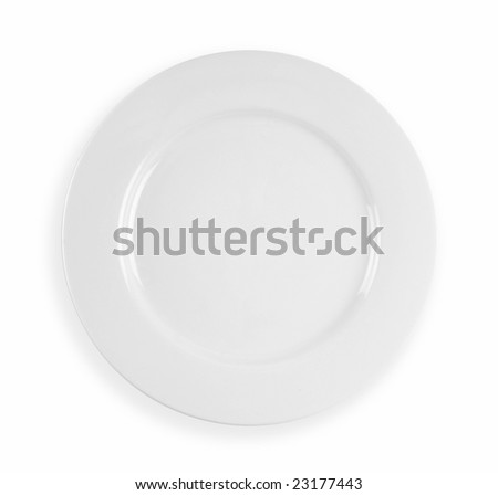 Clean white dinner plate with drop shadow