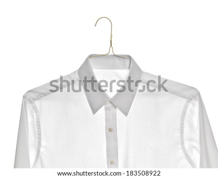 Clean white dress shirt on a gold colored wire hanger.