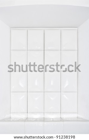 Clean white leather background shot with ringflash. - stock photo