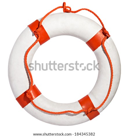 Clean white life ring, lifesaver or life preserver with red rope for a drowning person to grab isolated on a white background - stock photo