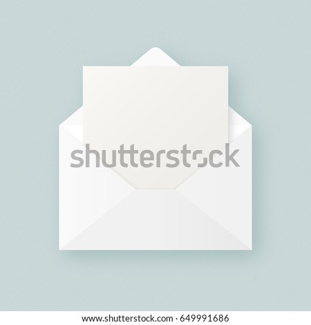 Blank Template Open White Envelope Empty Stock Vector